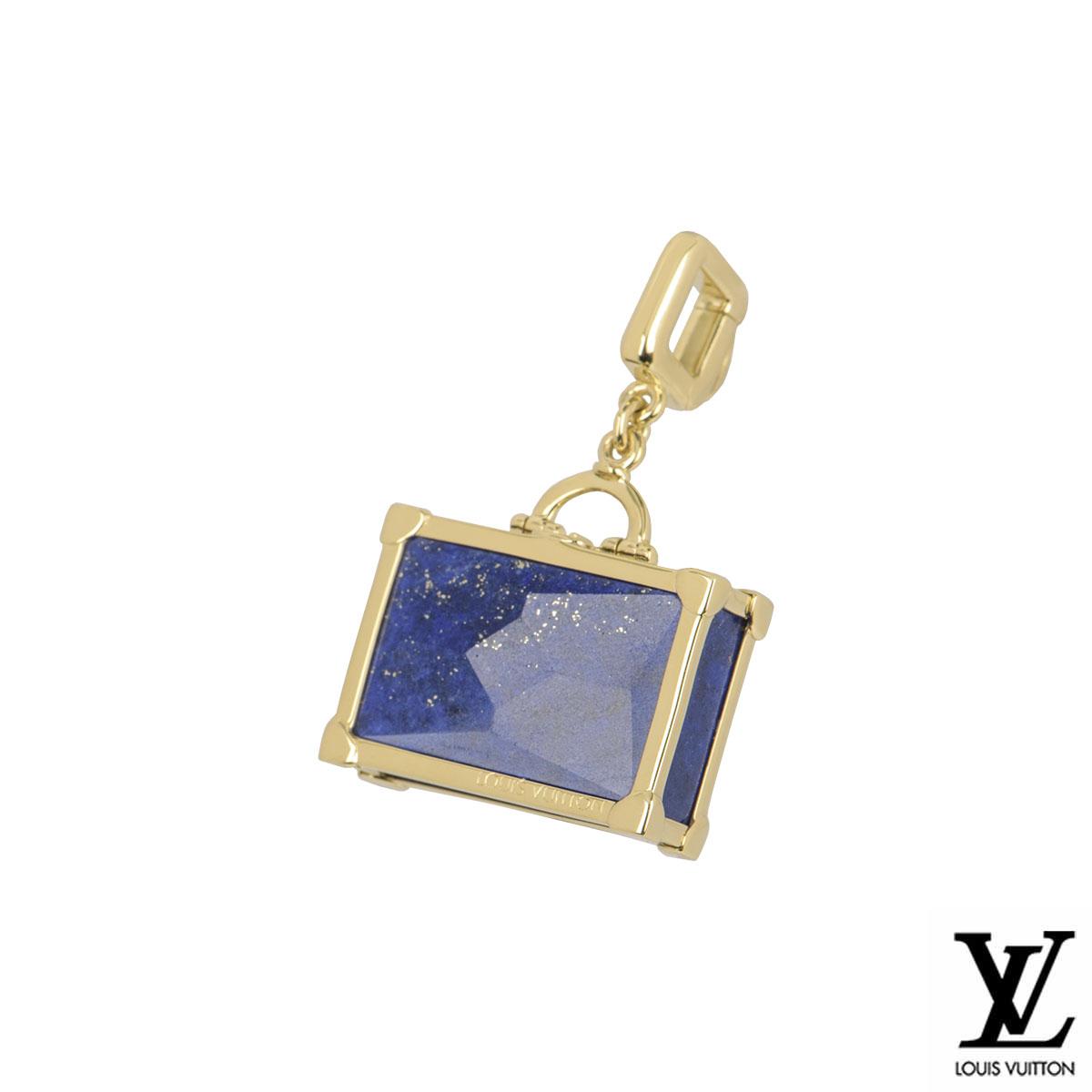 Louis Vuitton Yellow Gold Lapis Lazuli Suitcase Charm